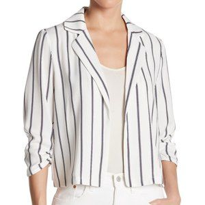 14th & Union Small Ruched 3/4 Sleeve Open Blazer